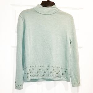 PENDLETON mint embroidered sweater